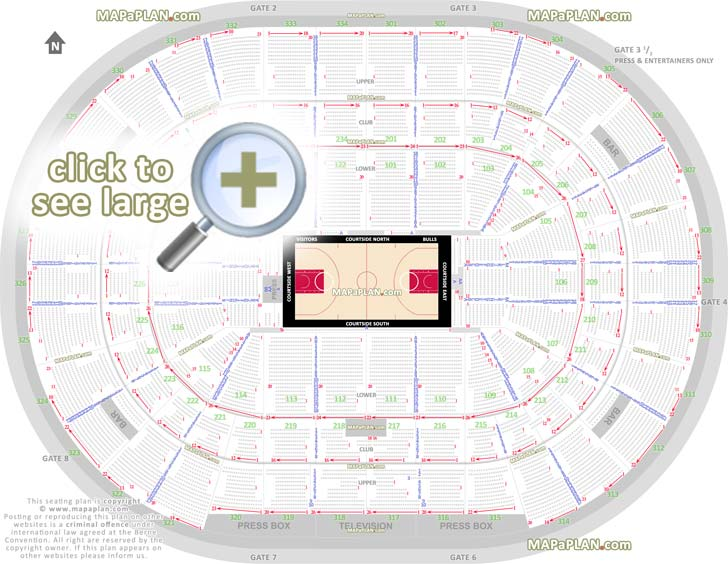 United Center Seating Map Chicago United Center seat numbers detailed seating plan  United Center Seating Map