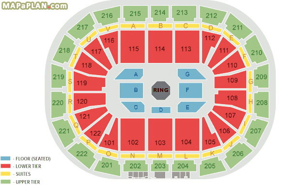 Manchester Arena Seating Map Manchester Arena seating plan   Detailed seat numbers   MapaPlan.com