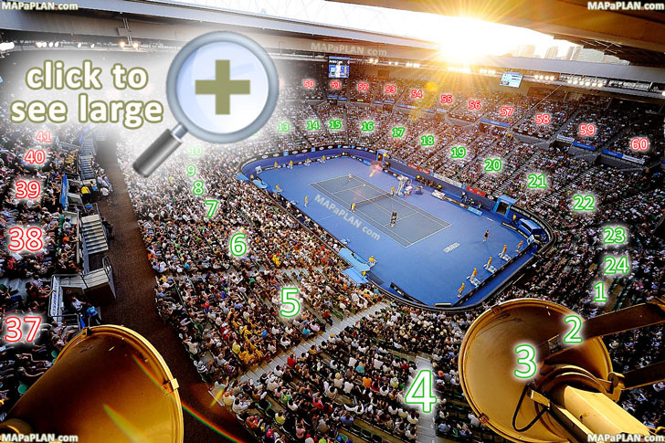 Melbourne Rod Laver Arena Seat Numbers Detailed Seating Plan
