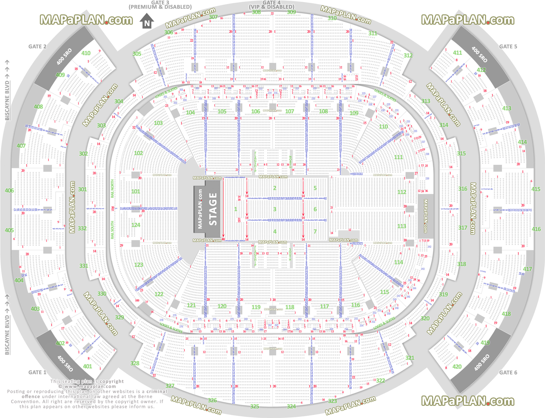 american airlines arena seat & row numbers detailed seating