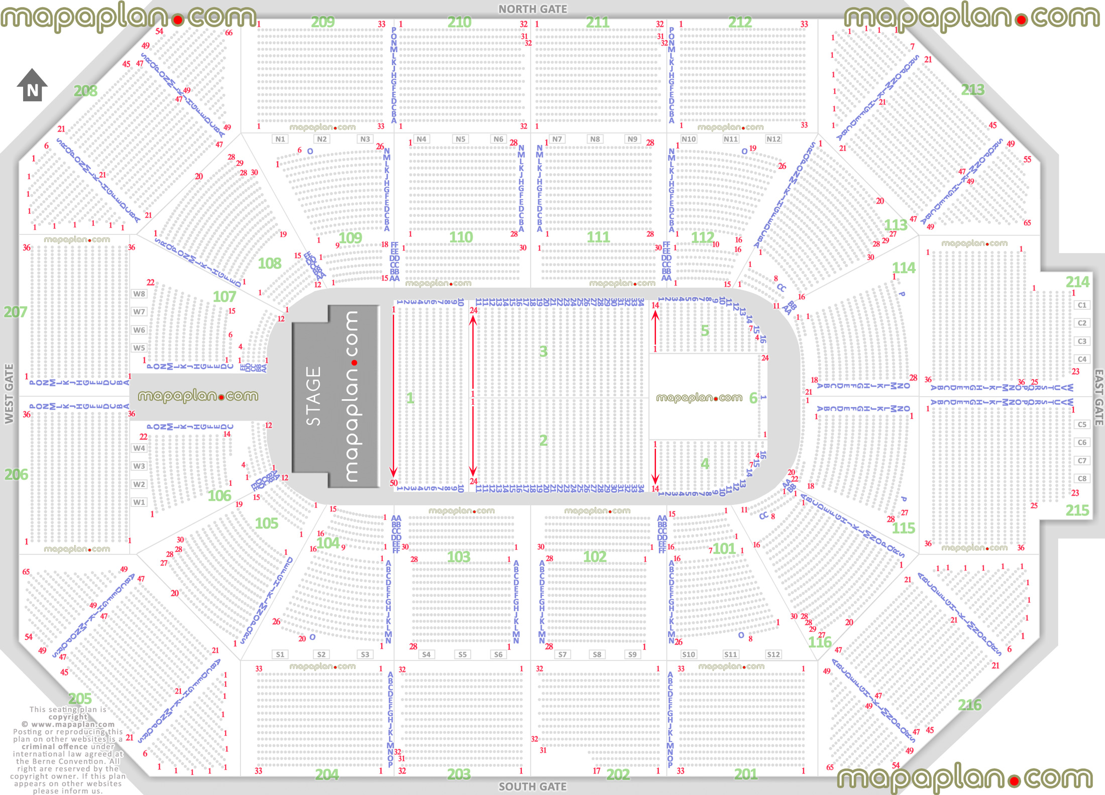 Allstate Arena Map Allstate Arena   Detailed seat & row numbers end stage concert