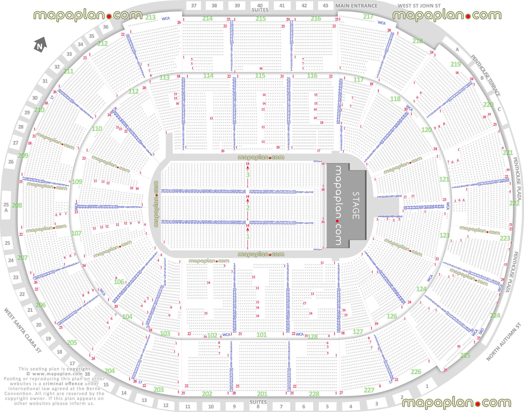 Sap Center Seat Map SAP Center seat & row numbers detailed seating chart, San Jose