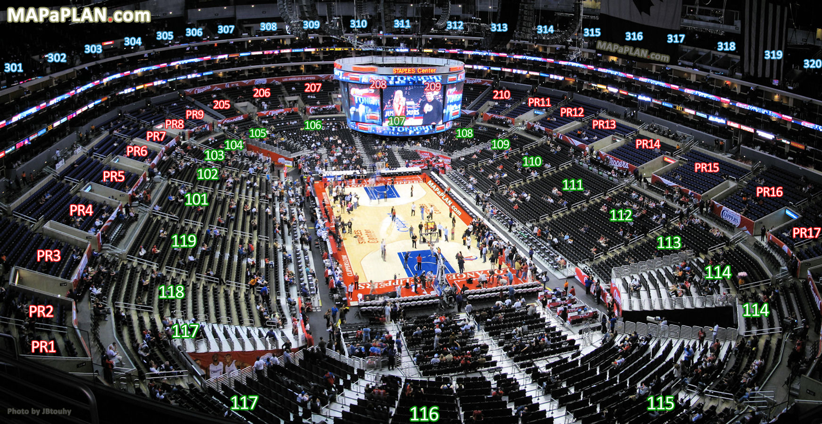 View From Section 328 Row 2 Seat 8 La Clippers Virtual Interactive Tour With Inside Bowl Levels Staples Center Seating Plan