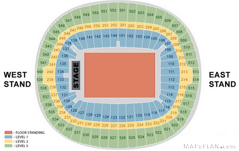 Wembley Seat Map Wembley Stadium seating plan   Detailed seat numbers   MapaPlan.com