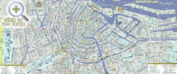 Amsterdam City Map Amsterdam maps   Top tourist attractions   Free, printable city  Amsterdam City Map