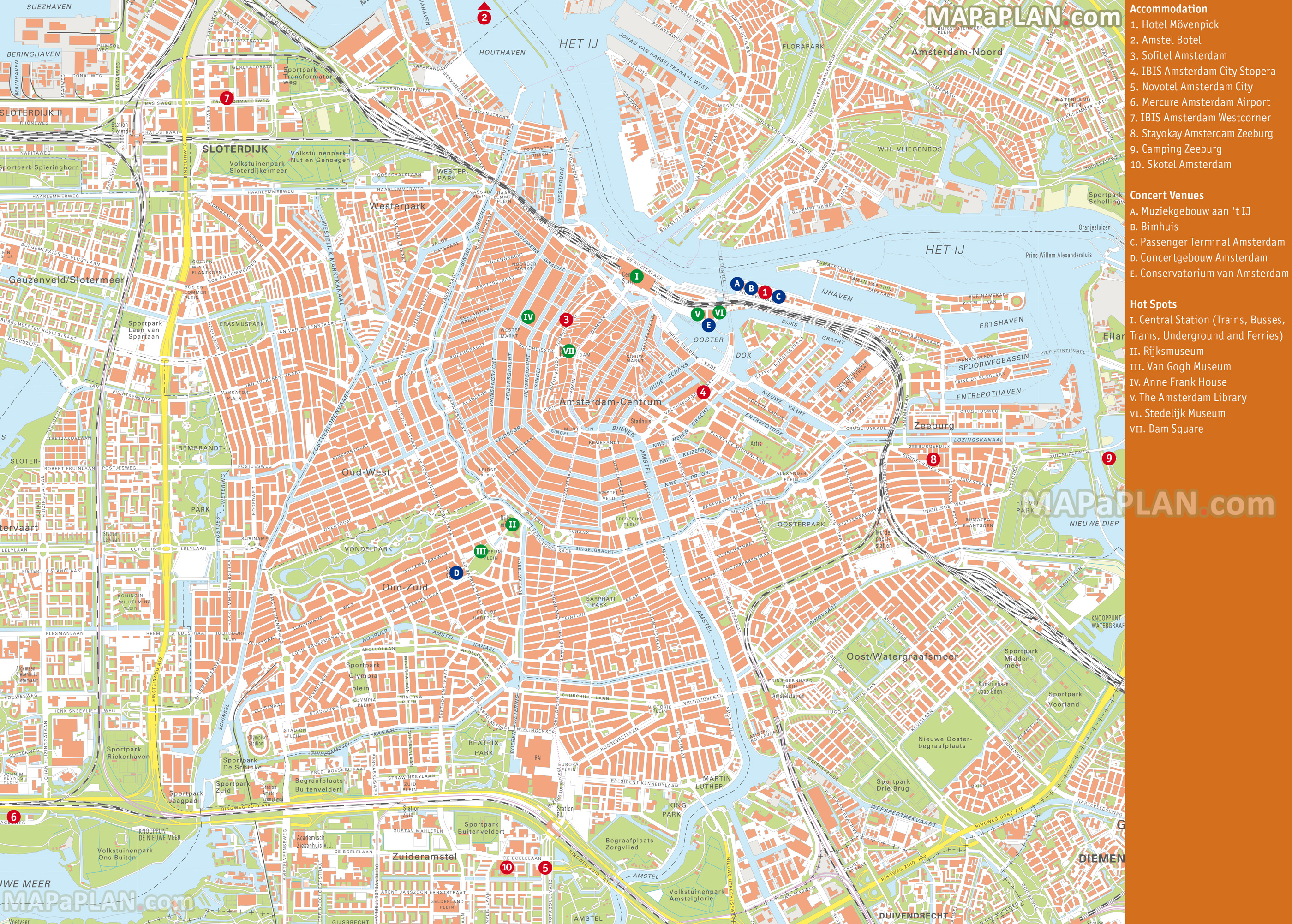 Amsterdam Street Map Amsterdam maps   Top tourist attractions   Free, printable city