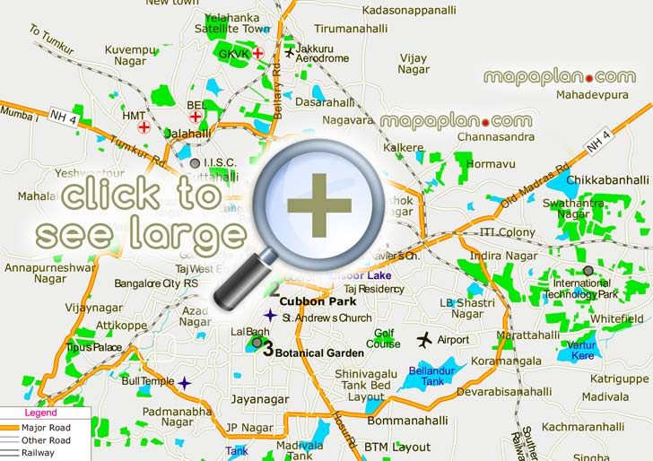 Bangalore City Map With Distance Bangalore maps   Top tourist attractions   Free, printable city