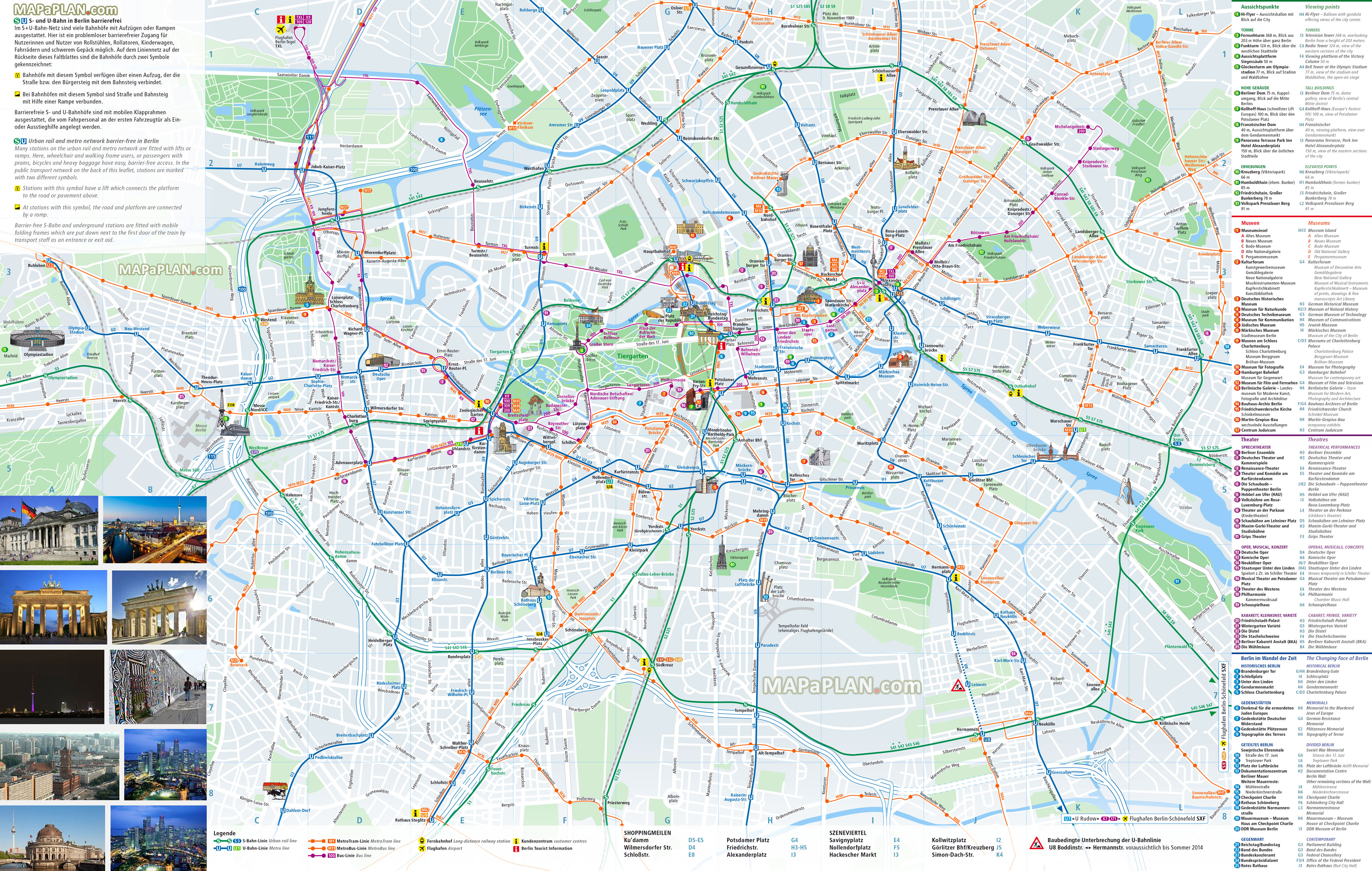 Bekannte Berlin maps - Top tourist attractions - Free, printable city  DO04