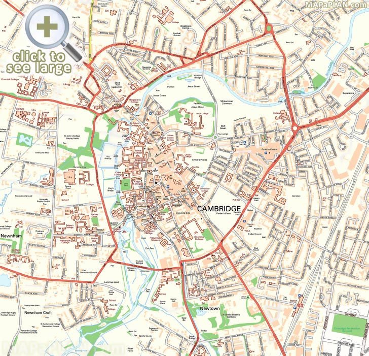 Cambridge Street Map Cambridge maps   Top tourist attractions   Free, printable city  Cambridge Street Map