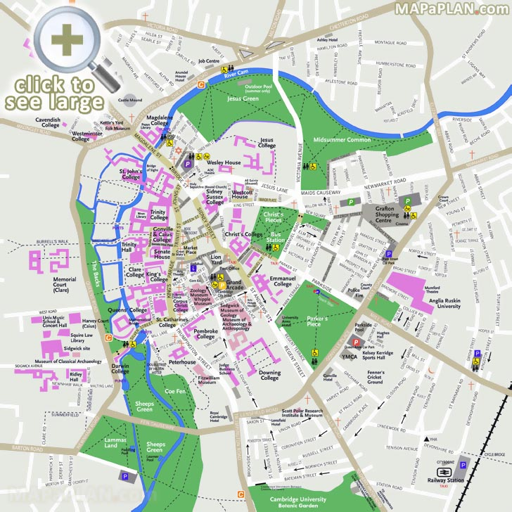 Cambridge Walking Tour Map Cambridge maps   Top tourist attractions   Free, printable city  Cambridge Walking Tour Map