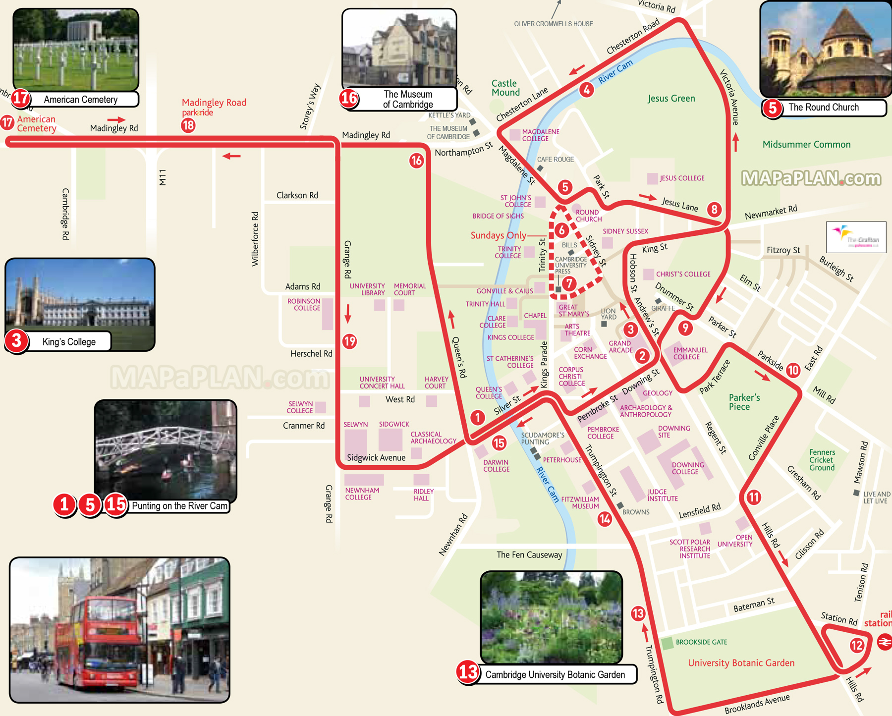 Cambridge Bus Map Cambridge map   Hop on hop off double decker City Sightseeing open  Cambridge Bus Map