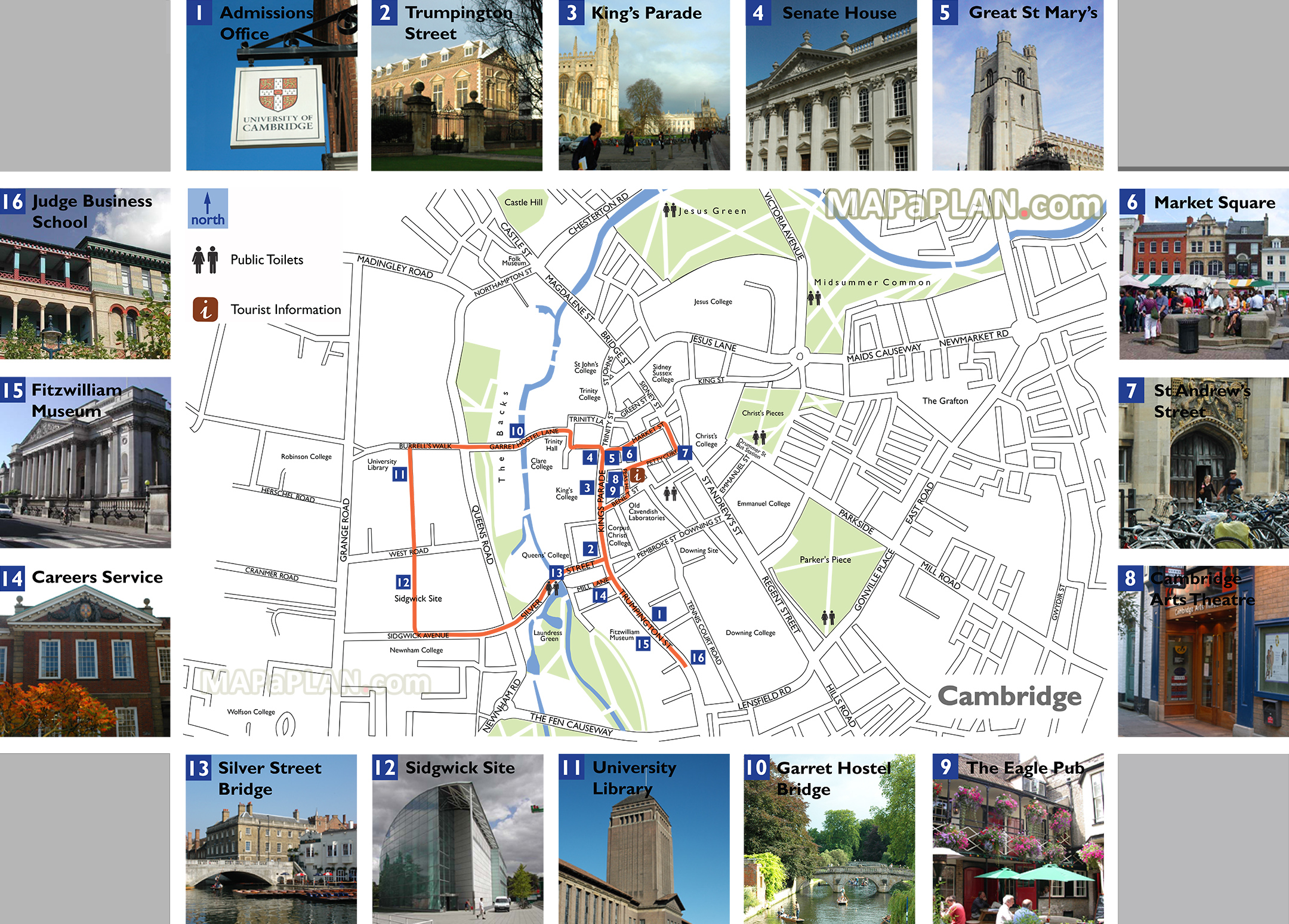 Cambridge Walking Tour Map Cambridge maps   Top tourist attractions   Free, printable city