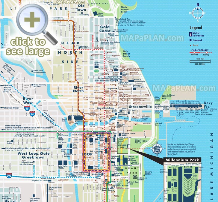 Street Road Names Plan Central Most Por Points Of Interest Elevated Metra Transport Stops Millennium Park