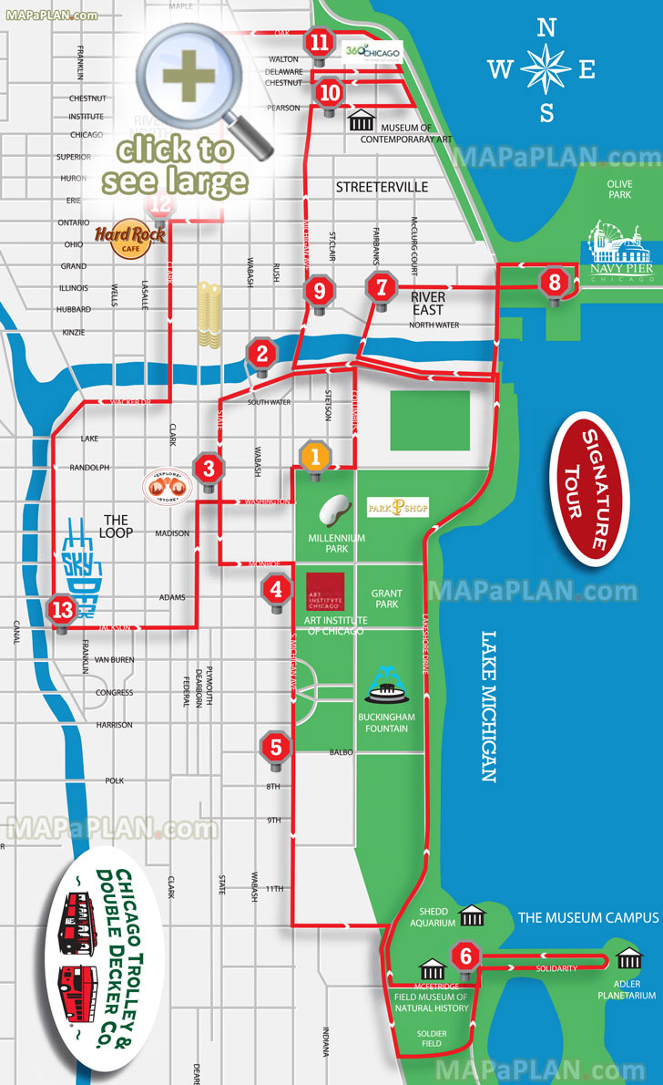 Hop On Off Signature Sightseeing Open Top Double Decker Trolley Bus Tour Routes Shedd Aquarium