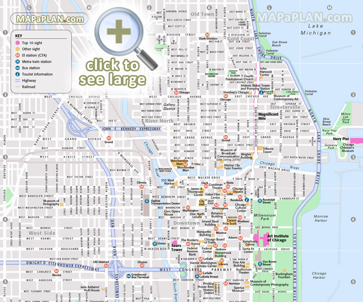 Chicago Map Printable Chicago maps   Top tourist attractions   Free, printable city
