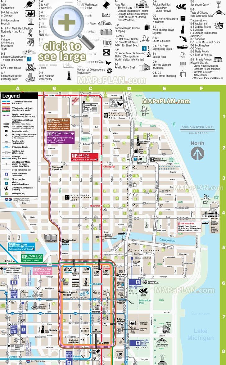 Chicago Loop Map Printable Chicago maps   Top tourist attractions   Free, printable city
