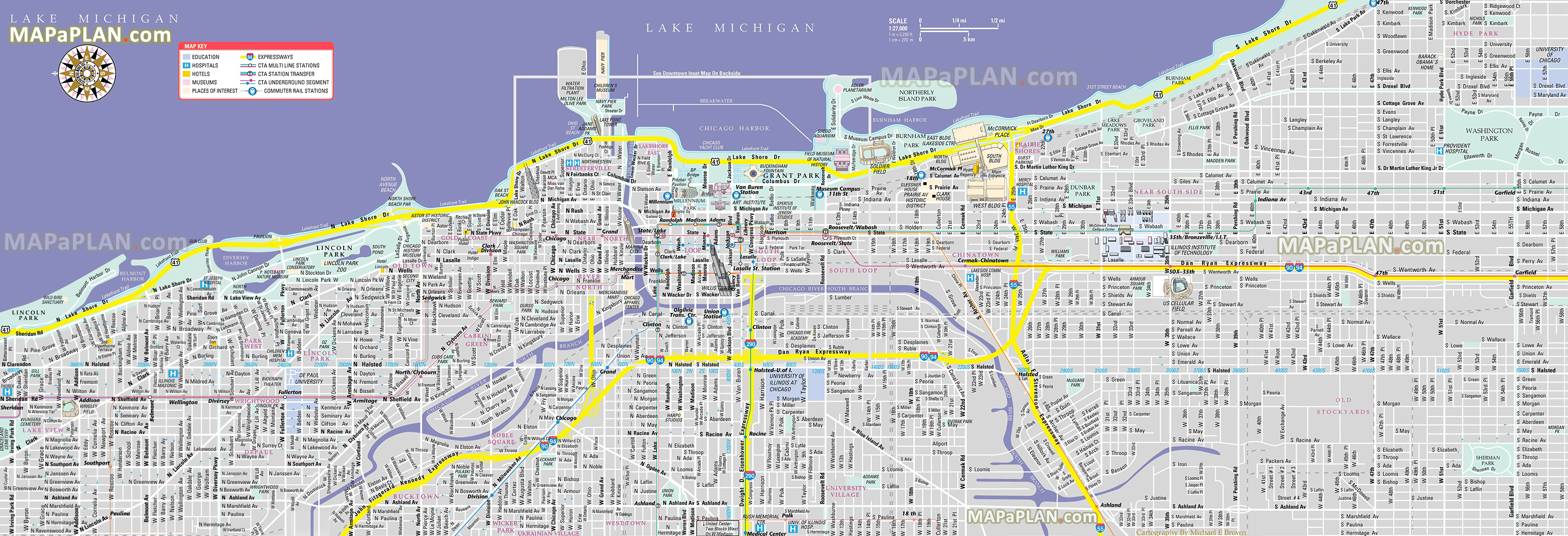 Printable Map Of Chicago Chicago maps   Top tourist attractions   Free, printable city