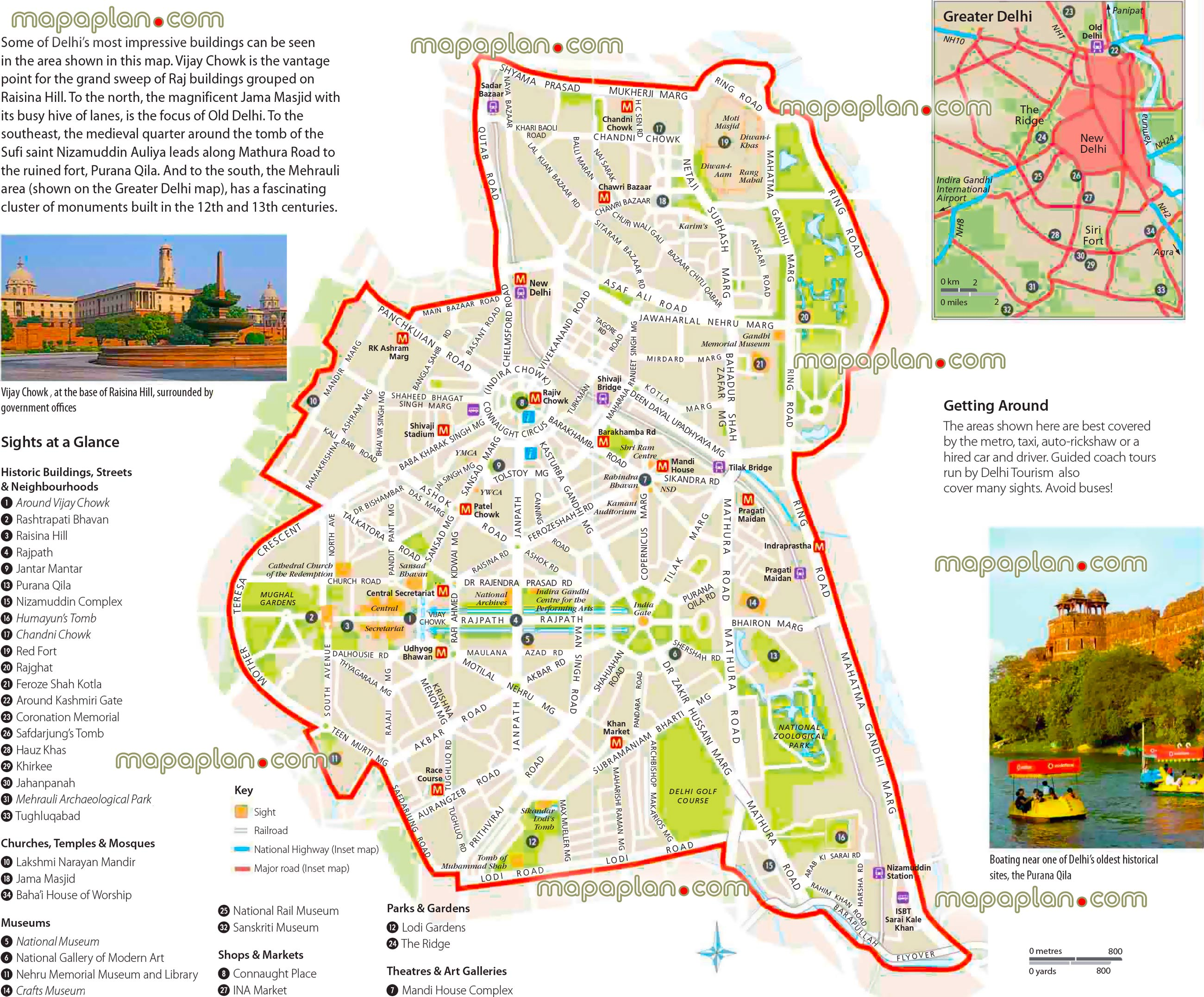 Delhi Tourist Map Delhi maps   Top tourist attractions   Free, printable city street