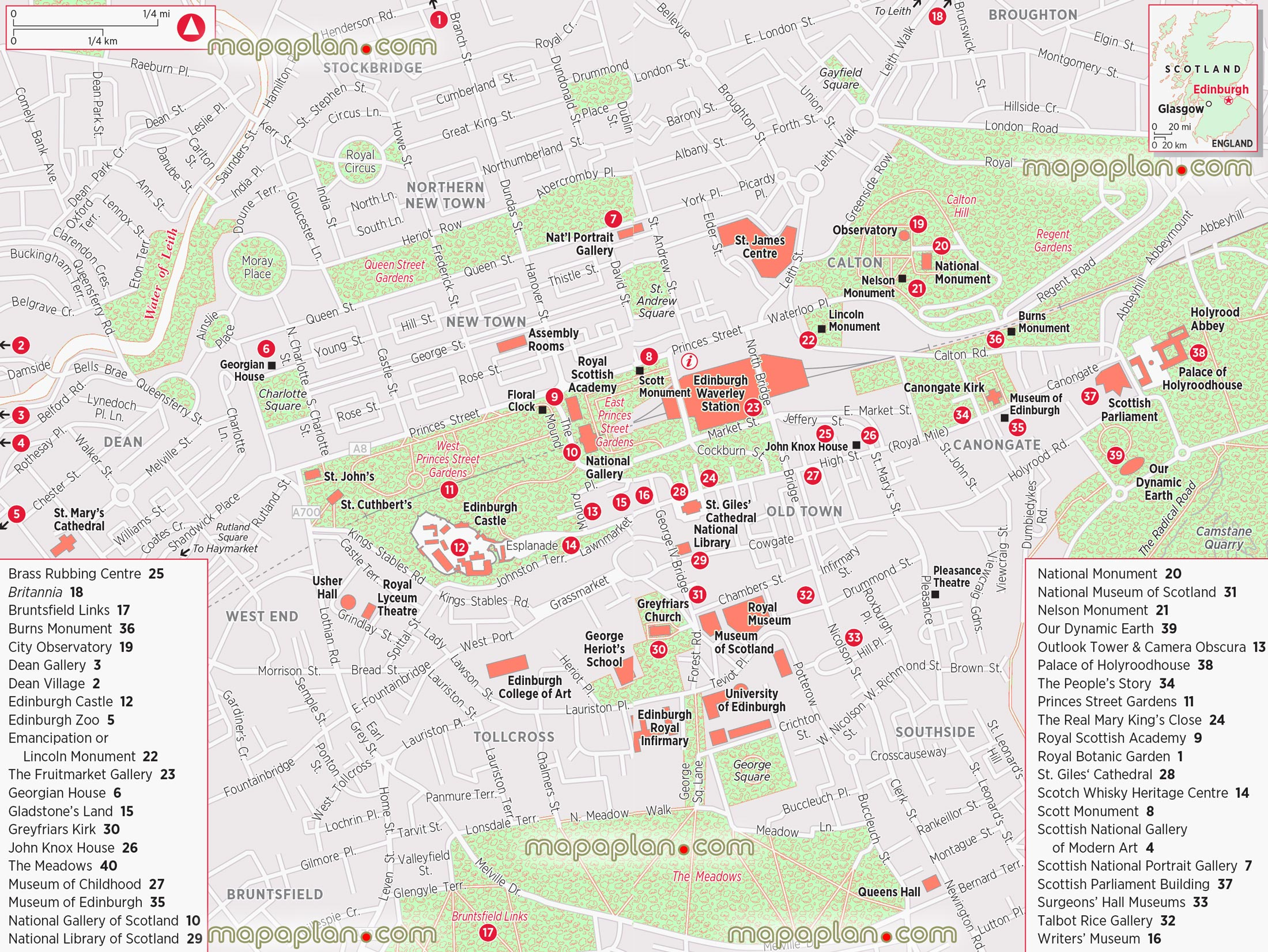 Map Of Edinburgh City Edinburgh maps   Top tourist attractions   Free, printable city