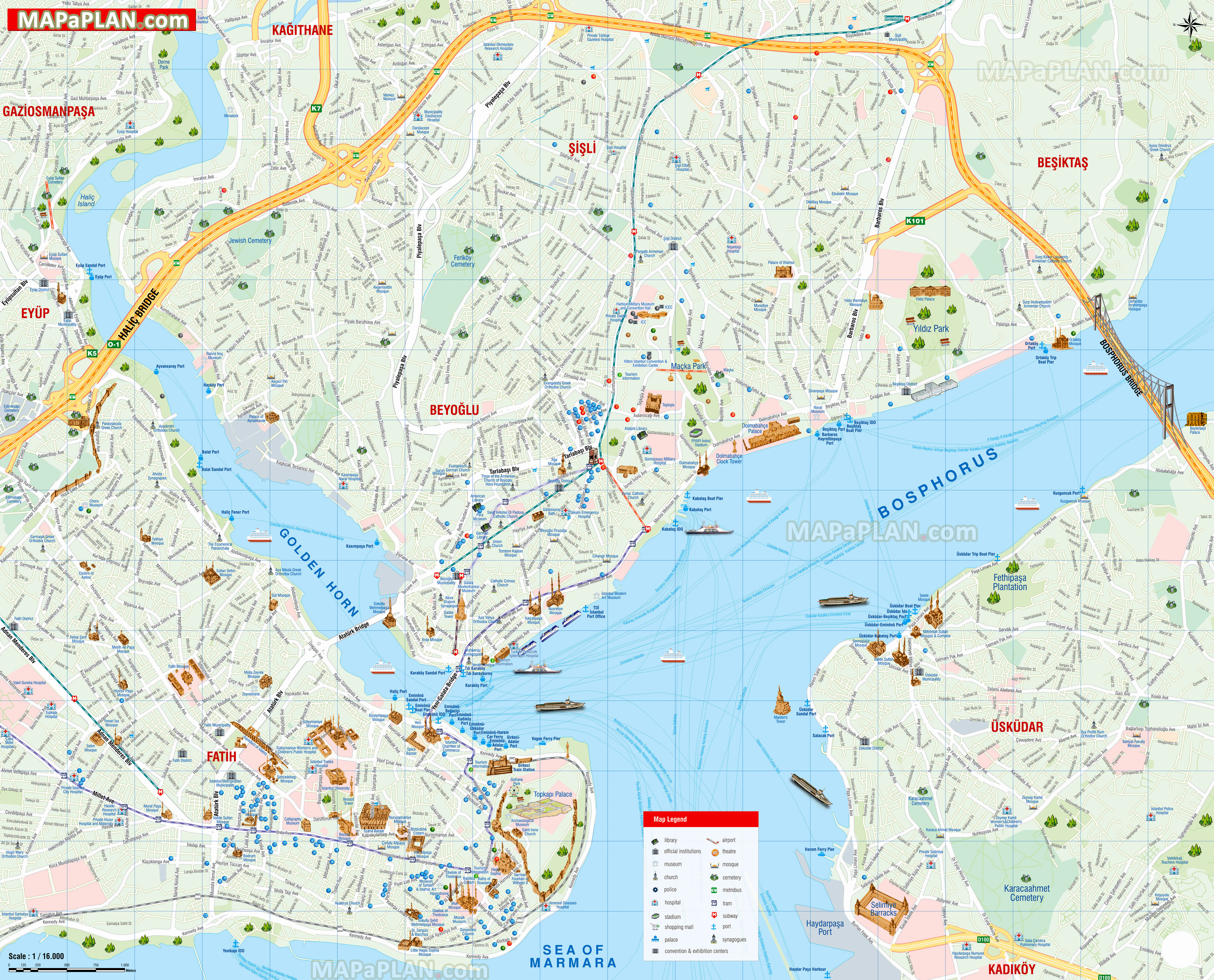 istambul mapa Istanbul maps   Top tourist attractions   Free, printable city  istambul mapa