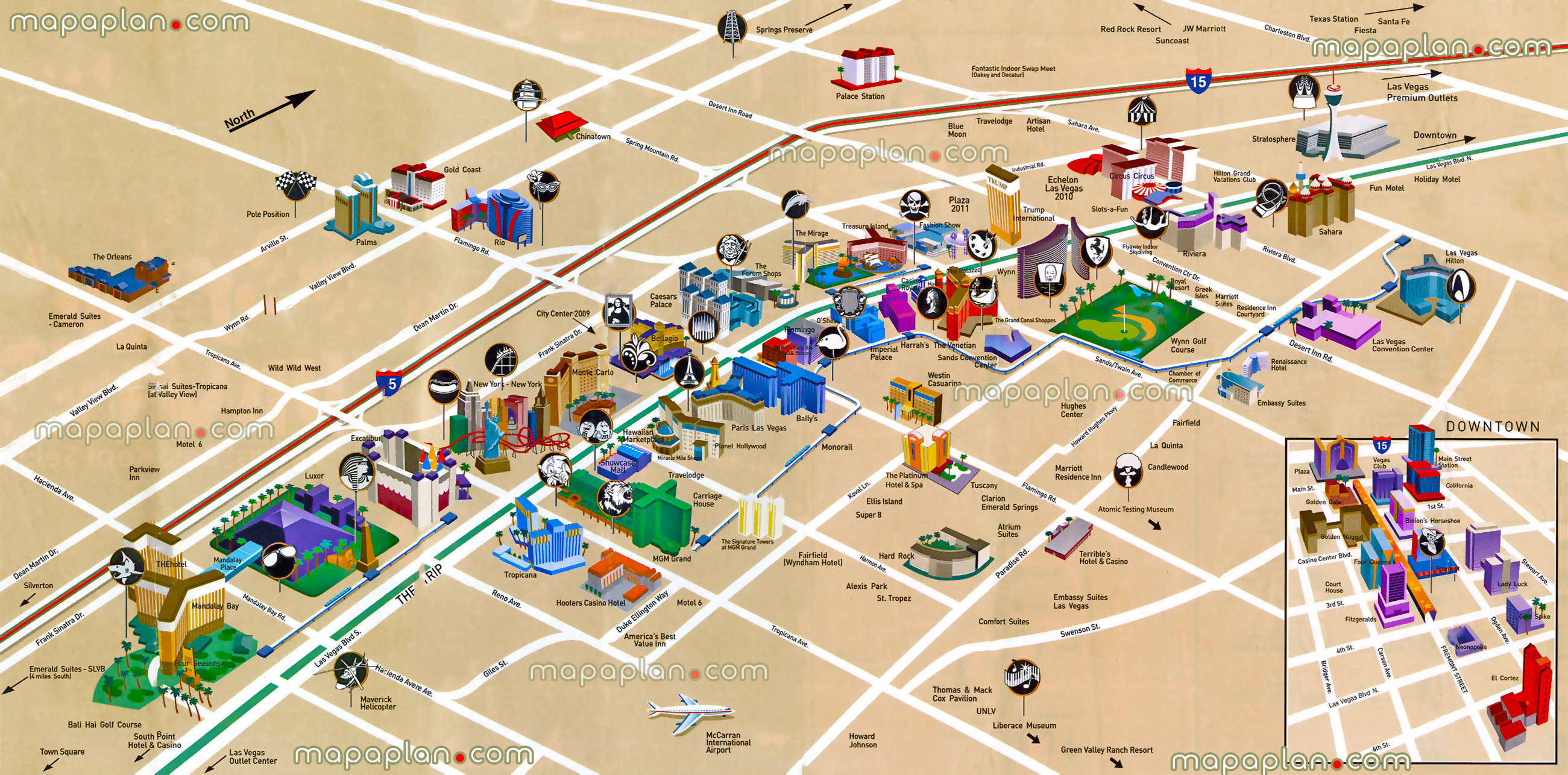 Las Vegas Location Map Strip Blvd Hotels Birds Eye Buildings Aerial Satellite Virtual Interactive Funny Easy View City Center
