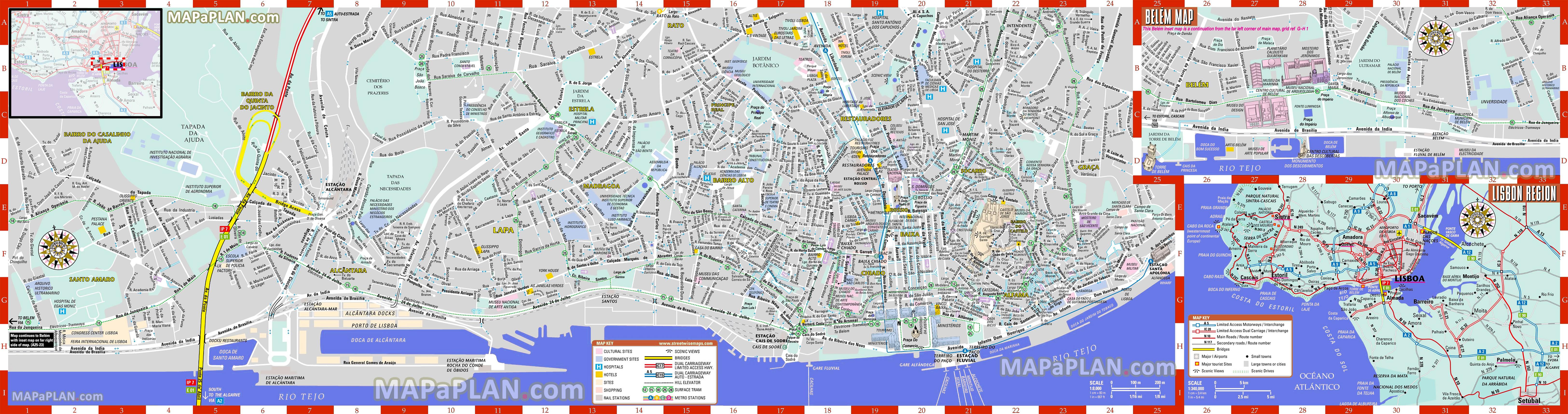 mapa 3d lisboa Lisbon maps   Top tourist attractions   Free, printable city  mapa 3d lisboa
