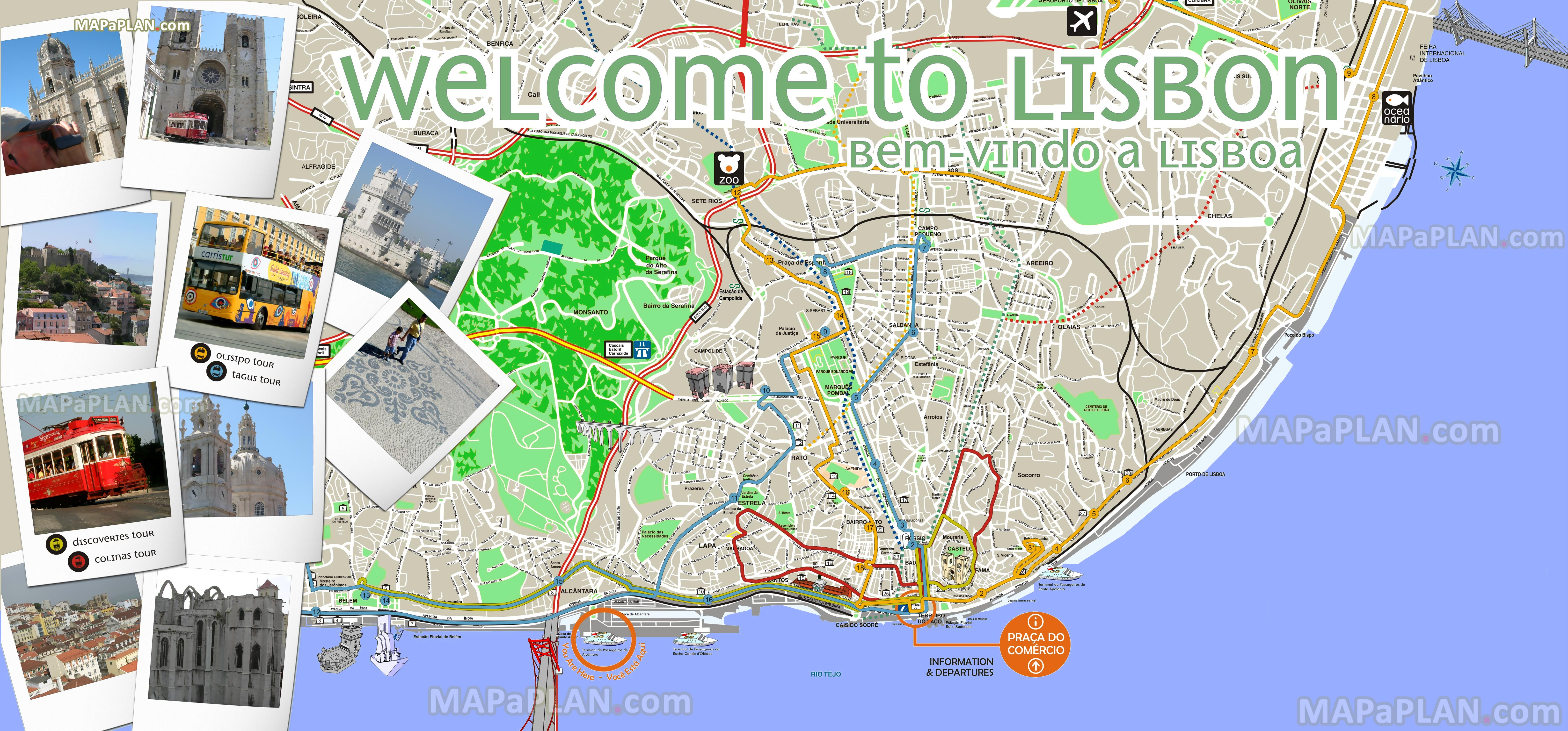 Lisbon Tourist Map Lisbon maps   Top tourist attractions   Free, printable city  Lisbon Tourist Map