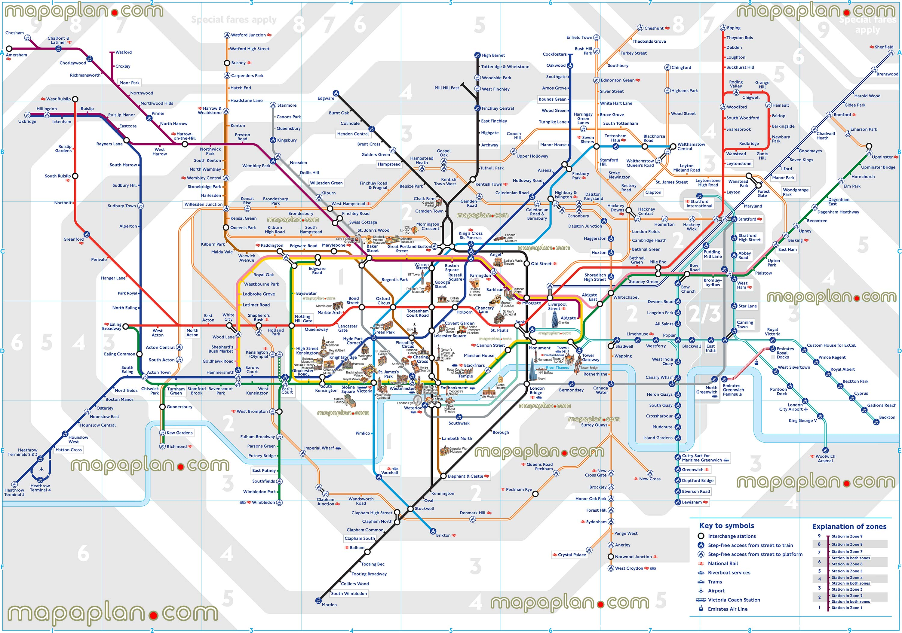 Underground And Overground Map London map   London tube / underground stations map with all zones  Underground And Overground Map