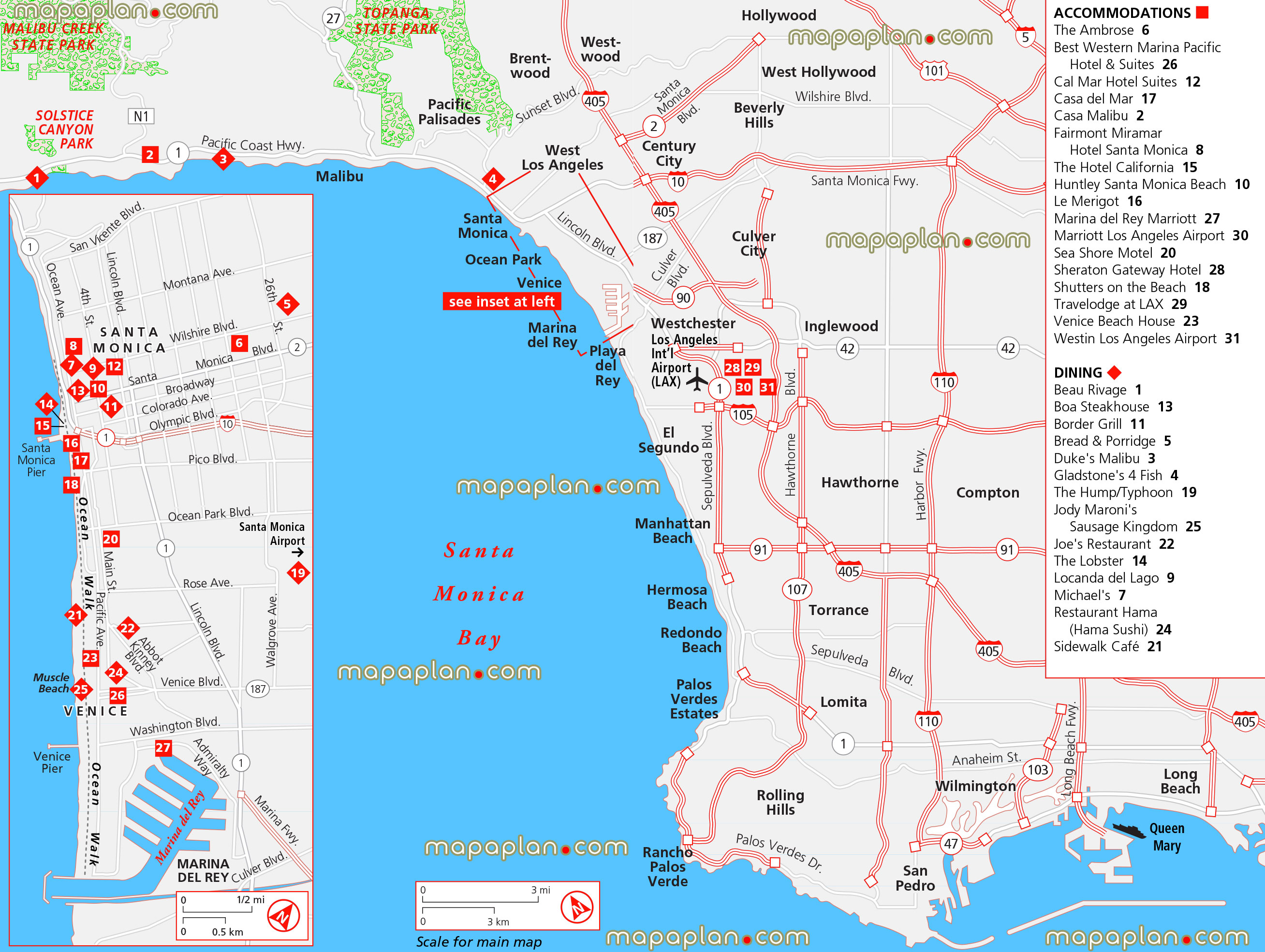 Santa Monica Beach Hotels Map | The best beaches in the world