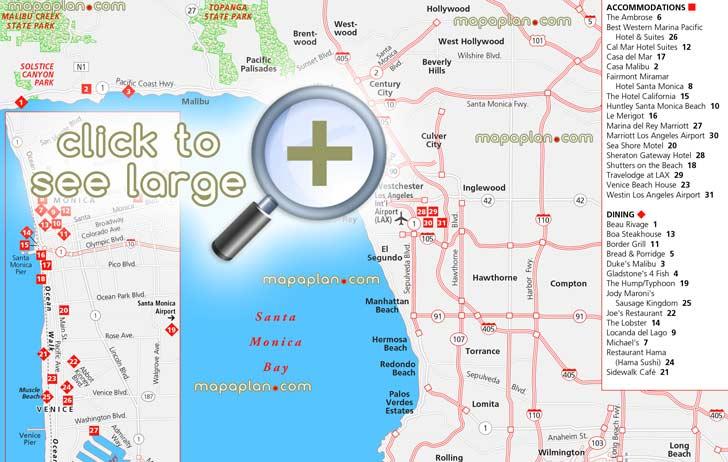 Los Angeles Maps Top Tourist Attractions Free Printable City Loews Santa Monica Beach