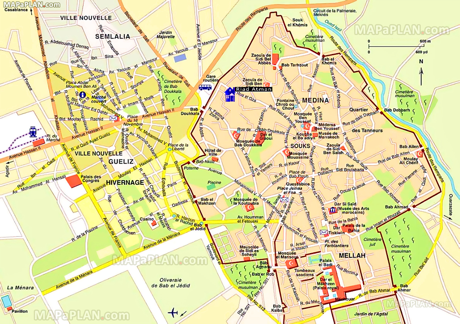 Map Of Marrakech Marrakech maps   Top tourist attractions   Free, printable city