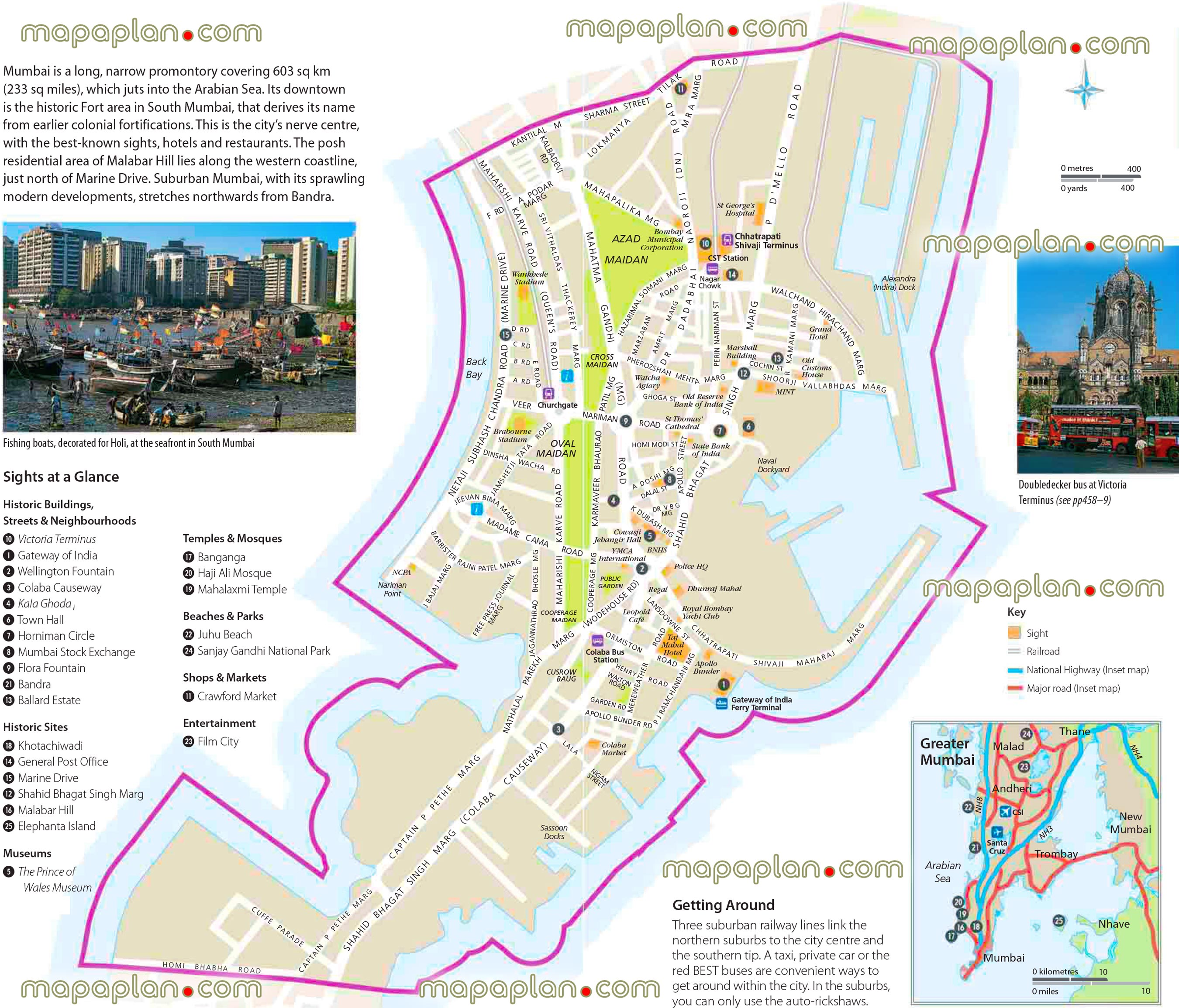 Mumbai Tourist Map Mumbai maps   Top tourist attractions   Free, printable city
