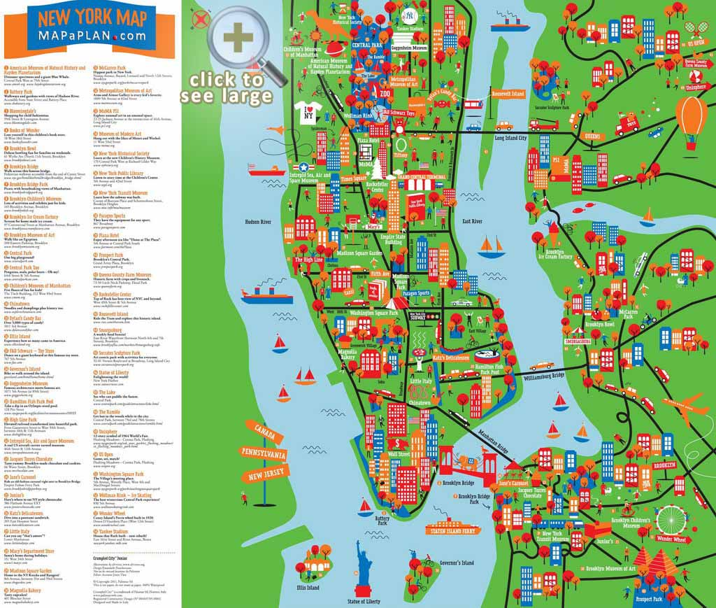 New York City Attractions Map Maps of New York top tourist attractions   Free, printable