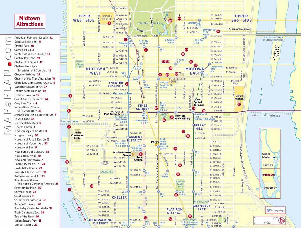 Printable Street Maps Maps of New York top tourist attractions   Free, printable