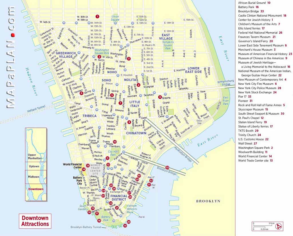 New York Map With Tourist Attractions