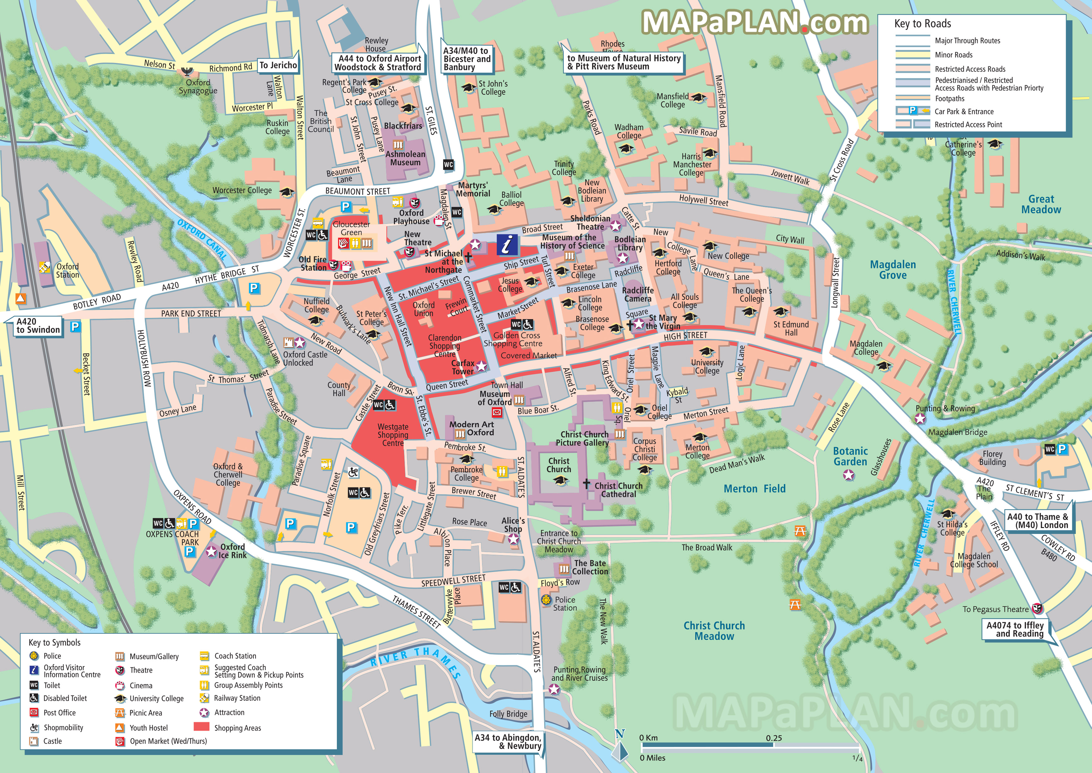 Oxford City Centre Map Oxford maps   Top tourist attractions   Free, printable city