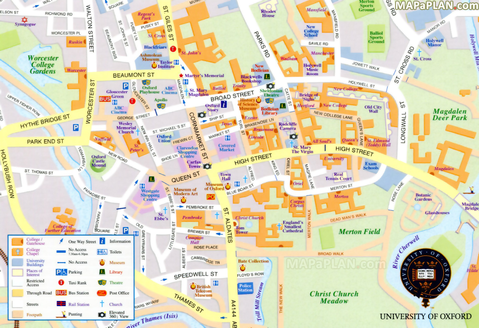 Oxford Street Map Oxford maps   Top tourist attractions   Free, printable city  Oxford Street Map