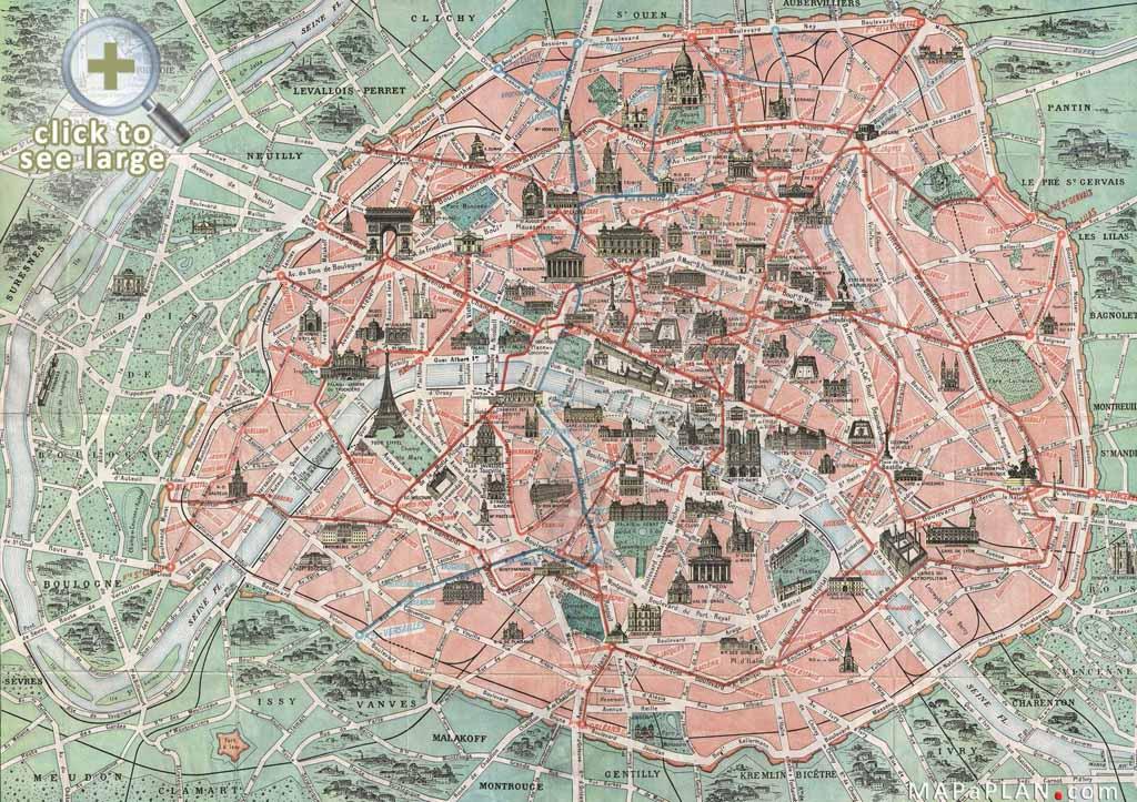 Paris France Tourist Attractions Map