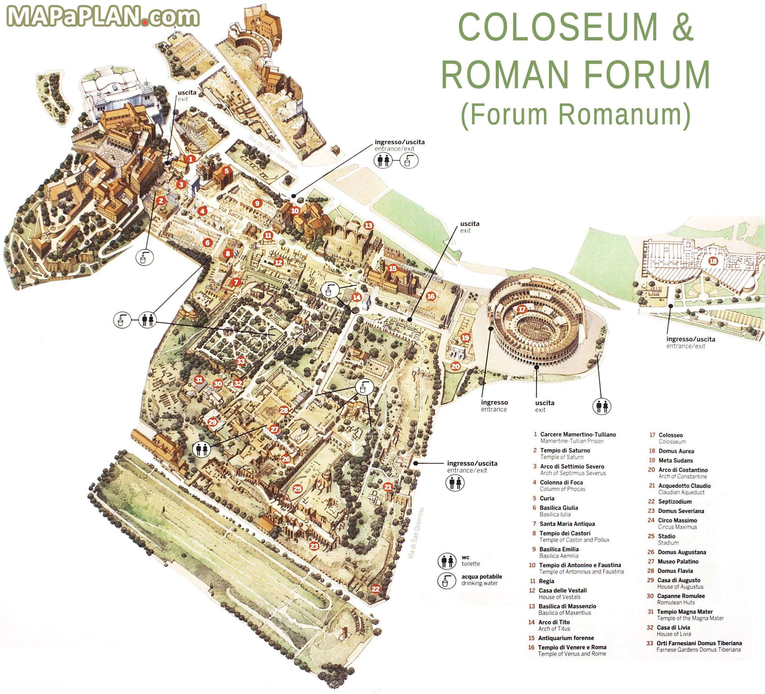 Roman Forum Map Map: High Resolution Map of the Roman Forum Archaeological Site