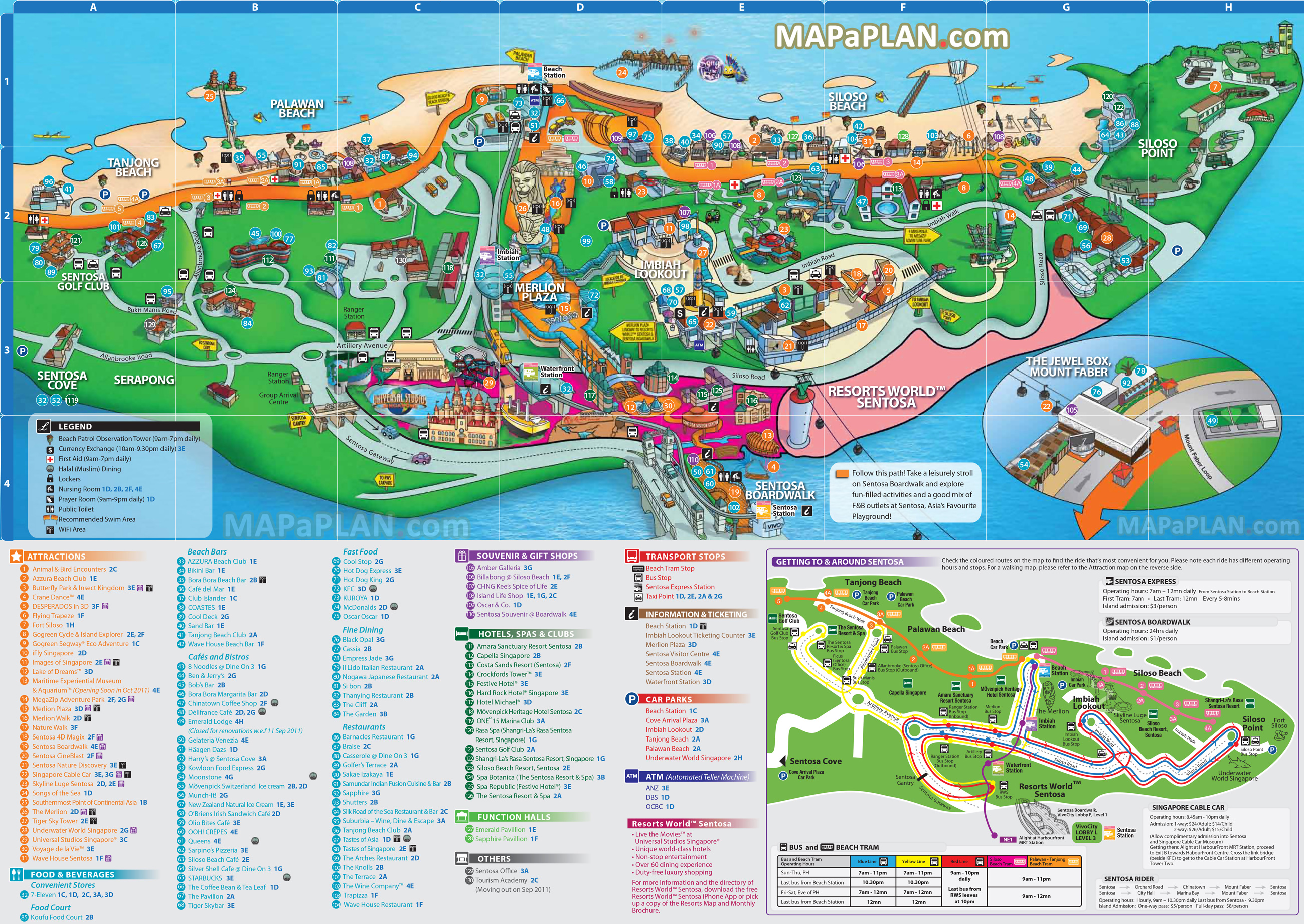 Map Sentosa Island Singapore Attractions Singapore map   Sentosa Island with Universal Studios, Underwater