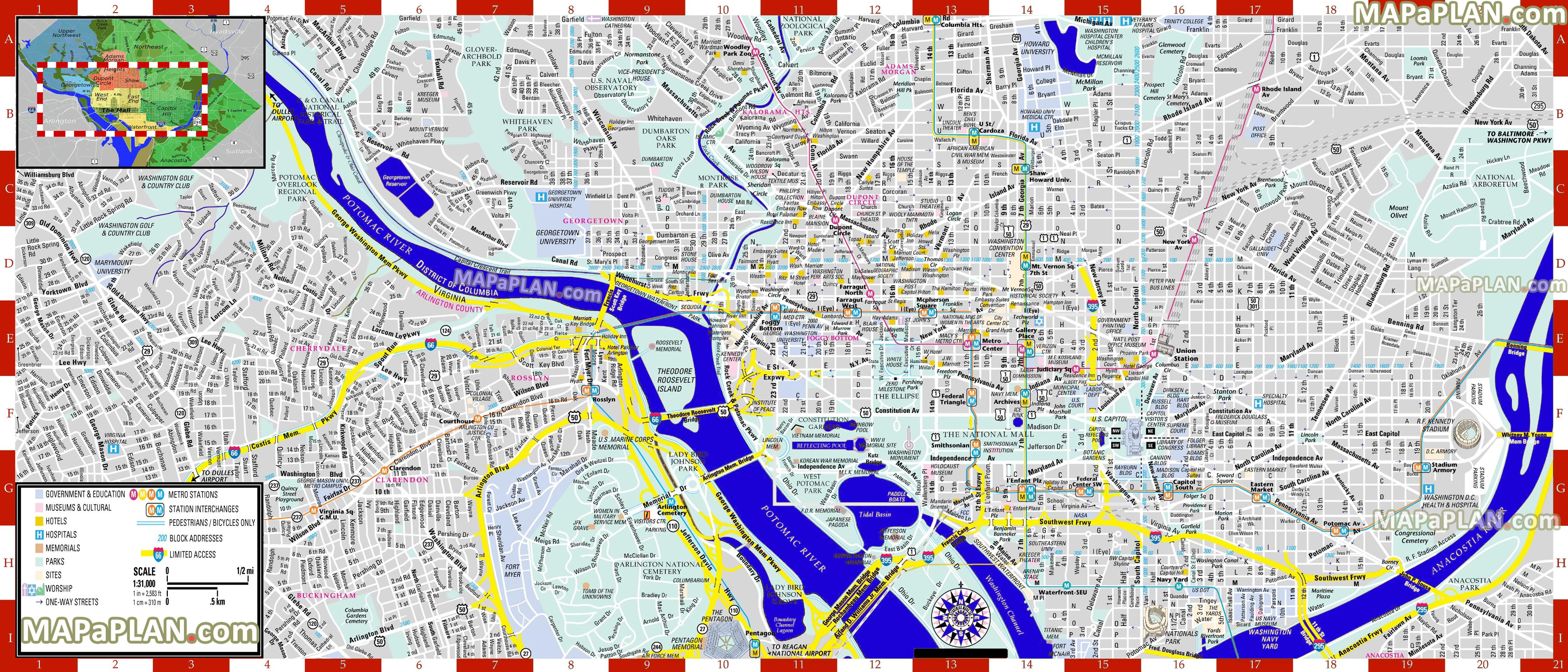 Printable Street Maps Washington DC maps   Top tourist attractions   Free, printable